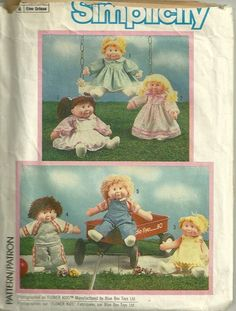 Simplicity 6823 1980s Vintage Sewing Pattern 80s Doll Clothes Pattern for Flower Kids and Cabbage Patch Kids by patterngate.com