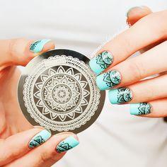 Completo diseño de la flor Nail Art sello placa de la imagen plantilla patrón #…