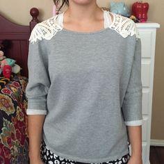 Grey sweater Grey sweater with beautiful crochet detailing Chloe K Sweaters Crew & Scoop Necks