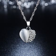 Trendy Silver Plated Cat eyes Stone Heart Pendant Necklace Crystal Necklace For Lover Gift //Price: $7.99 & FREE Shipping //     #accessories #necklaces #pendants #earrings #rings #bracelets    FREE Shipping Worldwide     Buy one here---> https://www.myladyempire.com/trendy-silver-plated-cat-eyes-stone-heart-pendant-necklace-crystal-necklace-for-lover-gift/