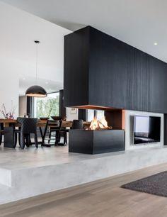 Living Room Decor Fireplace, Home Fireplace, Modern Fireplace, Fireplace Design, Home Room Design, Dream Home Design, Home Interior Design, Living Room Designs, House Design