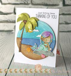 Amy Rysavy: Prarier Paper & Ink: MFT Mermazing w/Distress Oxide Inks 3 Ways - 5/24/17.  (MFT stamps/dies: BB Mermazing; Wonky St. Circle STAX; Beach Scene Bldr.; BB Polar Bear Pals sentiment).  (Pin#1: Die/Stamp: MFT... Pin+: Background: Watercolors; Seaside; Summer Fun; Children: Girls).