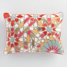 Bedroom: Embroidered Jali Tile Lumbar Pillow - world market