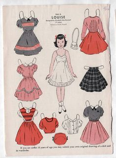 Here is a WEE WISDOM children's magazine Paper Doll page: LOUISE from May 1952 (not a reproduction), uncut, in very