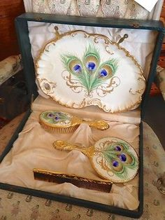 Art Nouveau Vanity Set Tray, Brush, Comb, Mirror Original Box Peacock Design | JV
