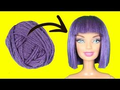 Diy hairstyles 293578469460597624 - DIY Barbie Hairstyles with Yarn Diy Yarn Dolls, Diy Doll, Diy Yarn Doll Hair, Old Barbie Dolls, Barbie Toys, How To Make Purple, How To Make Hair, Barbie Doll Hairstyles, Hair Yarn
