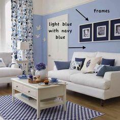 blaue wand mit türrahmen weiß-wohnzimmer farbgestaltung in blau ... - Wohnzimmer Weis Blau