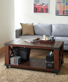 Furniture of America Vintage Walnut Rockester Industrial Coffee Table   zulily