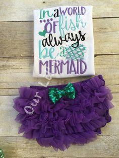 Mermaid Outfit - Mermaid Birthday - In A World Of Fish Always Be A Mermaid - Ruffle Bloomers - Mermaid - Onesie - Girls - Baby Gift -Mermaid by OurLilBowtique