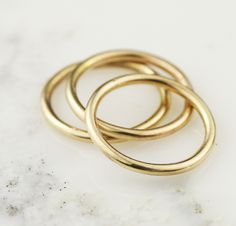 solid 14k gold stacking rings - @hoardjewelry