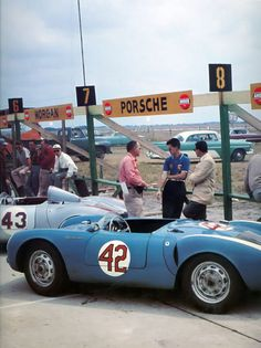 """thechicane: """" The Porsche 550 of Ed Crawford, Huschke von Hanstein/Herbert Linge with the Porsche 550 of Pete Lovely and Jack McAfee at the 1956 Sebring 12 Hours. Porsche 550, Porsche Cars, Porsche Classic, Classic Cars, Sports Car Racing, Sport Cars, Race Cars, Le Mans, Ferrari"""