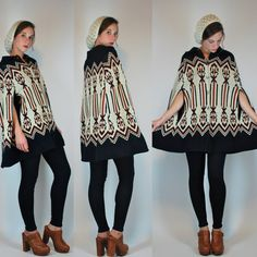 VTG 70s Navajo Poncho Cape Sweater Knit Coat by BluegrassVoodoo, $78.00