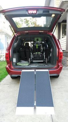 Cheap Foldable Ramp to Walk Wheelchair into Van!! Bought on Amazon.