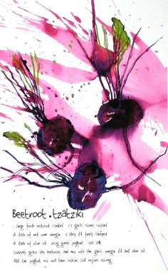 Recipe prints by Caroline Chappell, food illustration, design, beetroot, colour, ink, drawing, painting