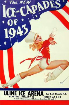 """George Petty - """"Ice Capades Program"""" 1943 TRUE Calendar, 1947 George Petty was an American pin-up artist whose art appeared primarily in ESQUIRE and Fawcett Publications's TRUE but was also in calendars marketed by ESQUIRE, TRUE, and Ridgid Tool Company. Figure Skating, Ice Skating, Petty Girl, Ice Show, Sci Fi Comics, Fashion Illustration Vintage, Nose Art, Old Ads, Pin Up Art"""