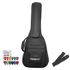 ChromaCast Acoustic 3/4 Size Guitar Padded Gig Bag with Guitar Strap & Pick Sampler