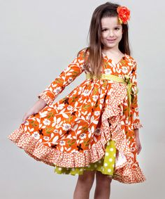 Take a look at this Orange & Green Maple Jordan Dress - Infant, Toddler & Girls by Jelly the Pug on #zulily today!
