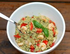 Pesto Quinoa with Shrimp (or Chicken) and Tomatoes