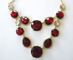 INC Red Crystal Double Row Statement Necklace #INCInternationalConcepts #Statement