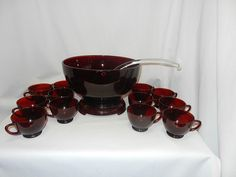 Vintage Mid Century Anchor Hocking Royal Ruby Punch Bowl with Stand, Cups, and…