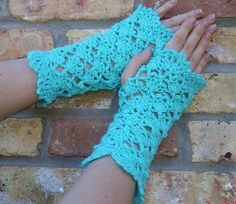 Crochet Shells Fingerless Gloves Half Mittens  by creativeladys, $3.50
