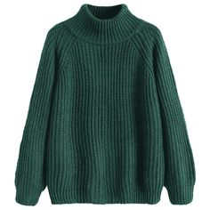 Raglan Sleeve Chunky Turtleneck Sweater Blackish Green (167040 PYG) ❤ liked on Polyvore featuring tops, sweaters, green sweater, green turtleneck, green turtle neck top, raglan sleeve sweater and green top