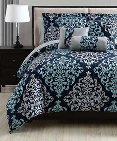 Loving this Navy & Aqua Lara Comforter Set on #zulily! #zulilyfinds