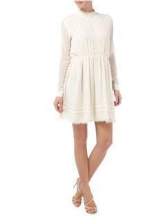 mbyM Kleid mit Biesen und Häkelspitzenbesatz in Weiß - 1