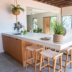 A lot of our clients are using their bench space as a multi function area. This space allows for casual kitchen dining. Kitchen Dining Living, Dining Table, Passive Solar Homes, Home Kitchens, Coastal Kitchens, Island Bench, Solar House, Stone Island, Kitchen Design