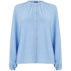 Warehouse Raglan Sleeve Blouse, Light Blue (395 ZAR) ❤ liked on Polyvore featuring tops, blouses, light blue blouse, rayon blouse, ruched top, long sleeve blouse and long sleeve tops
