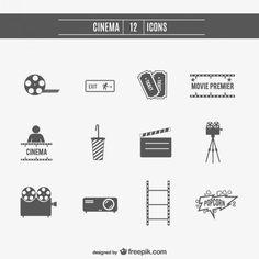 ícones do cinema de filmes set Vetor grátis
