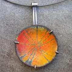 Enamel and Sterling Silver Pendant  Sgraffito Orange by lsueszabo, $275.00