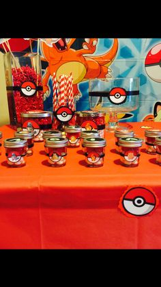 Bath and body works candle mason jars recycled for Pokemon Birthday Party Jelly bean favors =]