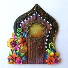 Fancy Fairy Door by Claybykim Handmade Pixie Portal Miniature