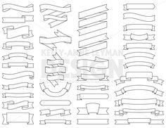 Digital Ribbons Clipart, Digital Labels, Digital Banner Clip Art, Commercial Use, Digital Download, Vector Graphics, Instant Download
