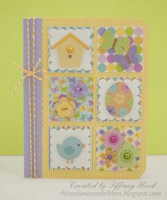 hanmade Easter/Spring card ... luv the pastel colors ... patchwork of scalloped inchied with Springtime ikons ... sweet!!