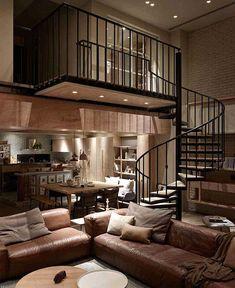 Un duplex design à Taipei Loft D'entrepôt, Loft Cafe, Casa Loft, Duplex Design, Loft Design, Design Moderne, House Design, Cafe Interior, Interior Design Living Room