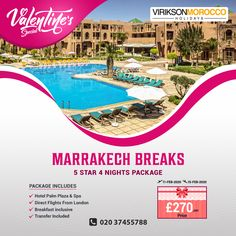 Do You Want to Go to A Special Place This Valentine's Day? 😍 ✈️ This Year, Virikson Holidays Offers Special 4 Nights Stay At Palm Plaza & Spa Hotel In Marrakech, Morocco Starting From £270/Pp.  Get In Touch: ☎ 020 37455788 💬 With A Travel Agent 👇 ATOL Protected Travel Agent In The UK #africa #Morocco #happynewyear2020 #london #NewYearChallenge @viriksonmoroccoholidays Morocco Beach, Visit Morocco, Morocco Travel, Marrakech Morocco, Valentines Day Date, Happy New Year 2020, Stay The Night, Hotel Spa, Where To Go