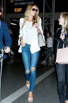 Celeb Street-Style MVPs Of 2014 #refinery29  http://www.refinery29.com/celebrity-street-style-pictures-2014#slide26  Spruce up your ripped jeans by adding a white blazer and matching high-heeled sandals à la the Victoria's Secret Angel.