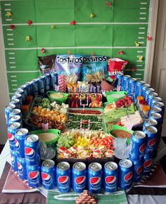 Step by step video instructions for building your own epic Football Snack Stadium! This is so cool! #snackstadium #gamedayglory #ad