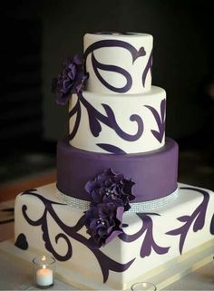 alexia dives posted Green and purple wedding cake with swirlies. This is the first cake I've seen and really liked! Of course I'd replace the purple with blue :-) to their -wedding cakes- postboard via the Juxtapost bookmarklet. Purple Cakes, Purple Wedding Cakes, Wedding Cakes With Flowers, Beautiful Wedding Cakes, Gorgeous Cakes, Pretty Cakes, Amazing Cakes, Gold Wedding, Flower Cakes