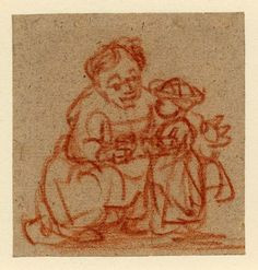 A woman crouching and teaching a child to stand. c.1635-7 Red chalk, on grey-buff paper