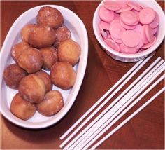 Donut holes as cake pops. DUH. Easy! Making these for Erik's cousins baby shower!!