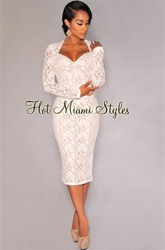 Off-White Lace Nude Illusion Long Sleeves Padded Midi Dress