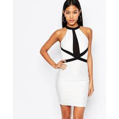 Lipsy High Neck Bandage Bodycon Dress With Contrast Strap Detail ($30) ❤ liked on Polyvore featuring dresses, white, white bodycon dress, bodycon bandage dress, ribbed dress, strappy dress and ribbed bodycon dress