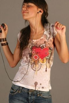 red melting heart love tshirt tie dye new women by nikacollection, $35.00