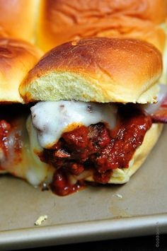 Meatball Sliders Recipe ~ Says: I can't even begin to tell you how crazy good these meatball sliders are. Like seriously, over the top delicious.
