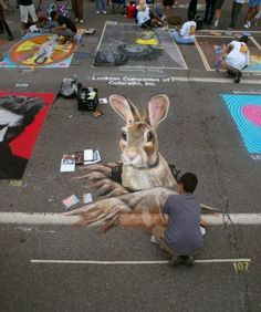 Incredible street chalk art, Denver's Chalk Art Festival by the talented Philip Bernal 3d Street Art, Amazing Street Art, Street Art Graffiti, Denver Chalk Art Festival, Chalk Festival, 3d Sidewalk Art, Graffiti Artwork, 3d Artwork, Artwork Pictures