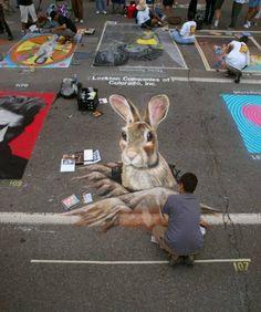 Incredible street chalk art, Denver's Chalk Art Festival. June1 & 2 2013  Larimer Square. Place to go see!!