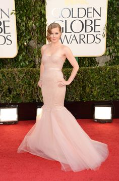 Amy Adams dazzled in a petal-pink mermaid Marchesa gown with sparkling diamond accessories.  Golden Globes Red Carpet Pictures 2013